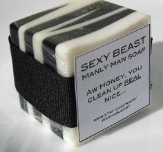 ゝ。'Sexy Beast Manly Man Soap' 。Fragrance are:→ Citrusy-herbal, with Notes of Grapefruit, Cilantro, and Fresh Cedar :¦: Etsy Shop: NewLeafSoap Mens Soap, Soap Packaging, Perfume, Soap Recipes, Home Made Soap, Men's Grooming, Handmade Soaps, Bath Salts, Paper Clip