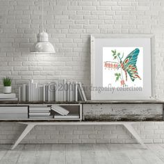 Artist Shanni Welsh's Butterfly and flowers art print.  Butterfly poster.