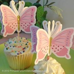 Free Printable 3D Butterfly Cupcake Toppers