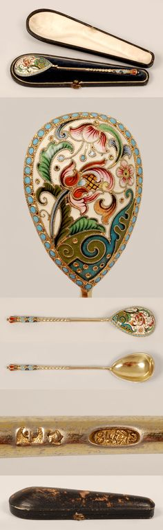 A Russian silver gilt and shaded cloisonne enamel spoon, Feodor Ruckert, Moscow, 1896-1908. The revierse of the egg-shape bowl decorated in an overall multi-color scrolling floral motif against a cream ground within a band of . Contained in a fitted box.enamel beads, additional enamel work on the traditional twist handle terminating in a crown-shape finial