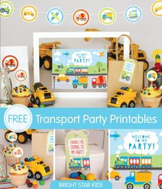 Because girls AND boys love their cars and trucks! Loving these free printables from Bright Star Kids.  Look for more transport party ideas on our blog www.partywithunicorns.com  #kidsparties #toottootchuggachugga #kidspartyprintables