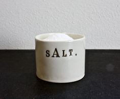 Love this little porcelain SALT cellar from etsy seller - raedunn