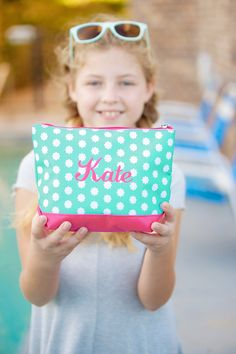 Personalized Makeup Bag in Hadley Bloom Personalized Makeup Bags, Beach Print, Monogram Styles, Beach Fun, Cosmetic Bag, Sunglasses Case, Polka Dots, Make It Yourself, Hadley