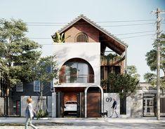QT HOUSE on Behance Duplex House Design, House Front Design, Modern House Design, Villa Design, Facade Design, Exterior Design, Modern Tropical House, Tropical Houses, Building Exterior
