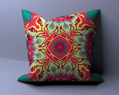 Indian Pillow Cover, Indian Throw Cushion, Geometric Pillow, Mandala Pillow, Ethnic Pillowcase, Hippie Pillowcase, OOAK Pillow 0031