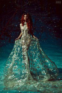 Feminine beauty Dream blue Lady in lace gown