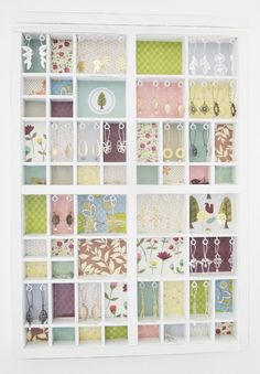 Earring display from printer's box and scrapbook paper -by Shlomit Ofir