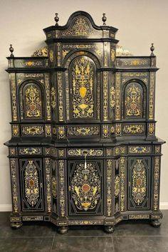 Extremely Fine Italian Baroque Ebonized Wood and Hardstone Cabinet Vintage Cabinet, Italian Baroque, High Renaissance, Wood, Ebay, Vintage Armoire, Woodwind Instrument, Timber Wood, Trees