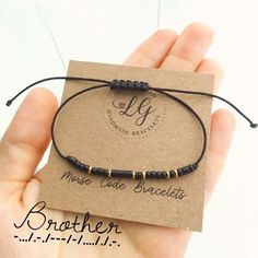Brother Morse Code Bracelet – Mens Jewelry – Brother Gift – Shiny Black or Matte Black - jewelry diy bracelets Friend Bracelets, Bracelets For Men, Friendship Bracelets, Beaded Bracelets, Bracelets For Boyfriend, Diy Gifts For Friends, Best Friend Gifts, Gifts For Him, Diy Christmas Gifts For Men