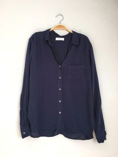VELVET By Graham & Spencer Faye Rayon Challis Button Up Shirt Blouse Blue S $138 #VelvetbyGrahamSpencer #ButtonDownShirt #Casual