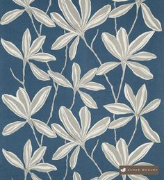 Appealing designer fabric and the perfect choice for drapery and upholstery from the 'Coromandel' design style range by James Dunlop Indigo, Floral Curtains, New Zealand, Fabric Design, Print Patterns, Plant Leaves, Blue And White, Textiles, Wallpaper