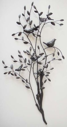 Metal Wall Art - Large Tree Branch With Nesting Birds