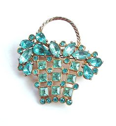 Aqua Turquoise Blue Rhinestone 1940s Antique Jewelry Basket Brooch - - - Old world vintage rhinestone brooch sparkles with aqua and turquoise blue