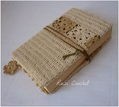 Crochet Cover Booknatural by RusiCrochet on Etsy, $20.00