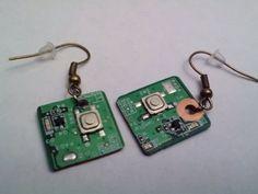 Modern Circuit Board Jewelry  Green Earrings with by ElectricWear, $12.99