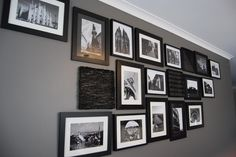 Love this feature wall and frames. colour is dulux charcoal light Room Colors, Wall Colors, House Colors, Paint Colors, Colours, Grey Feature Wall, Feature Walls, Dulux Grey, Hamptons Decor