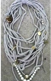 T-shirt Necklaces -- too cute!! Buy your #cheap #tshirts to make this at ClothingShopOnline.com -- you'll save 40-75% off retail prices. | #fashion #design #DIY #creative #tshirt