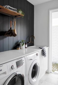 White Laundry Rooms, Modern Laundry Rooms, Laundry In Bathroom, Laundry In Kitchen, Laundry Room Shelves, Laundry Room Remodel, Laundry Room Organization, Laundry Cabinets, Laundry Room Doors