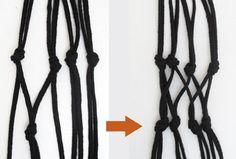 【3】先ほどかた結びした紐と隣り合った紐を2本組にして、同じくかた結びします。(鉢が大きかったり、長細い場合には、鉢に合わせてこれを繰り返します)