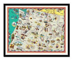 "Vintage Washington, Oregon and Idaho map - a retro and funny map - 11 x 14"". $19.00, via Etsy."