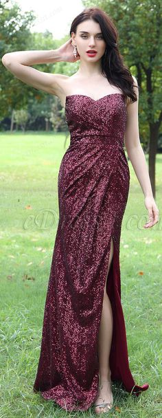 160405b30f Burgundy Sweetheart Sequins Dress with High Slit Skirt Slit Skirt