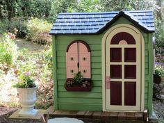 playhouse to pump house, outdoor furniture, repurposing upcycling, Newly painted