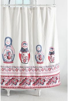 Got this adorable Matryoshka shower curtain to make into pillows for my living room