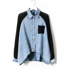 Chiffon Sleeve High-low Denim Shirt (3740 RSD) ❤ liked on Polyvore featuring tops, blouses, shirts, oasap, chiffon sleeve blouse, denim blouse, denim collar shirt, blue chiffon blouse and blue shirt