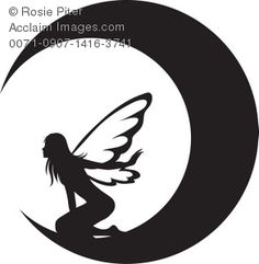 Clip Art Illustration Of The Silhouette Of A Fairy On The Moon