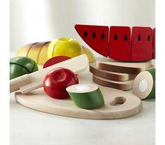 Kids' Kitchen & Grocery: Kids Pretend Wooden Sliced Toy Food Set