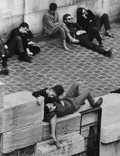 Parisian Beatniks Hanging Out on Bank of the Seine. Bet they're all stoned.