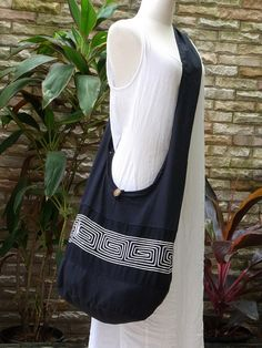 Hobo Boho Cross Body Black Cotton Shoulder Bag by TipBoutique, $10.99