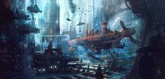Titanic Dry Dock by Luis Peres Types Of Fiction, Tomb Raider Game, R Wallpaper, Fantasy Illustration, Cute Characters, Titanic, Drawing S, Art Forms, Sci Fi