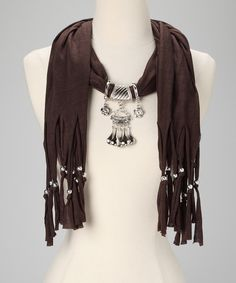 B33 Crinkled Black Silver Charcoal Teardrop Crystal Pendant Scarf Shawl Boutique