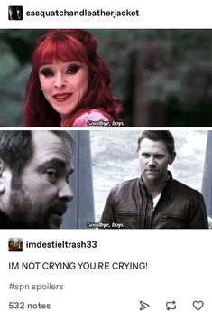 Crowley and Rowena's last goodbye Supernatural Rowena, Funny Supernatural Memes, Spn Memes, Cw Tv Series, Winchester Boys, Super Natural, Superwholock, Best Shows Ever, Best Tv