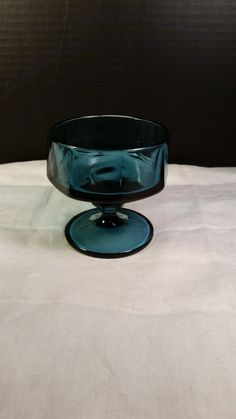 Blue Green Teal Dessert Glass Bowl Dish by ShellysSelectSalvage