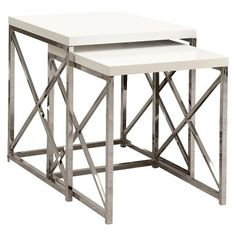 Monarch Specialties Nesting Table 2-Piece Set - Dark Taupe : Target