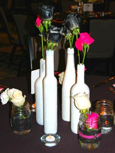 Hot pink, black and white wedding center pieces