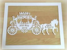 Personalised New Baby Girl Wedding by NicolasIntricateCuts on Etsy Horse And Carriage Wedding, Horse Carriage, Baby Girl Presents, Baby Girl Gifts, Fairytale Room, Wedding Drawing, Paper Cut Design, Personalized Baby Gifts, New Baby Girls