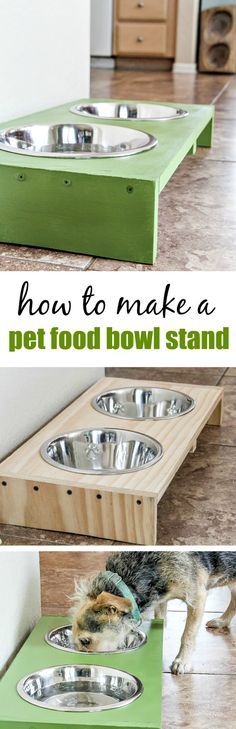 DIY Dog Food Bowl Stand Stop dog food bowls from sliding around the floor with this easy DIY pet food bowl stand. This project was completed in partnership with Freshpet, the refrigerated and all natural pet food made with fresh ingredients. Dog Food Bowl Stand, Dog Food Stands, Dog Food Bowls, Pet Bowls, Natural Pet Food, Dog Feeder, Homemade Dog, Diy Stuffed Animals, Cat Food