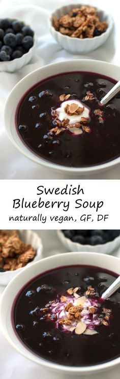 This healthier Swedish blueberry soup uses just a little maple syrup to sweeten this energizing dish that can be served either warm or cold! Naturally vegan, gluten-free, and dairy-free.