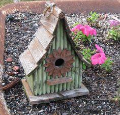 birdhouse in our wheelbarrow