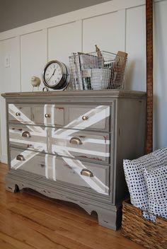 painted furniture union jack autumn vignette. reckless glamour union jack dresser painted furniture autumn vignette