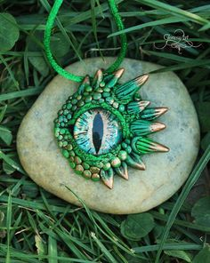 Green dragon eye pendant - fantasy necklace - green dragon - ooak dragon - polymer clay jewelry - Rhaegal dragon - ooak by GloriosaArt