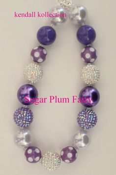 """Sugar Plum Fairy"" Chunky Beaded Necklace for women, girls, kids"