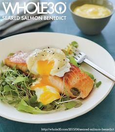 Seared Salmon Benedict (With recipes for Poached Eggs and Hollandaise Sauce)