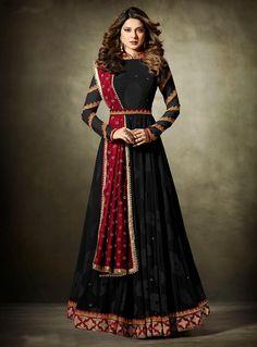 Jennifer Winget Black Lycra Floor Length Anarkali Suit 115744