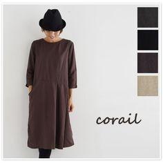 【corail コライユ】テンセル リネン 斜め切替 ワンピース (3052817)