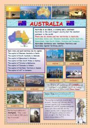 English Worksheets: AUSTRALIA (2 PAGES)