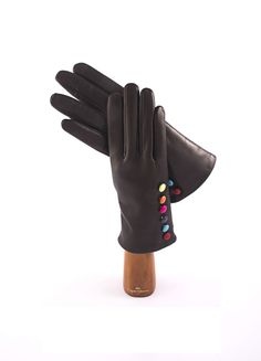 Lambskin handmade Capri Gloves with colored buttons.